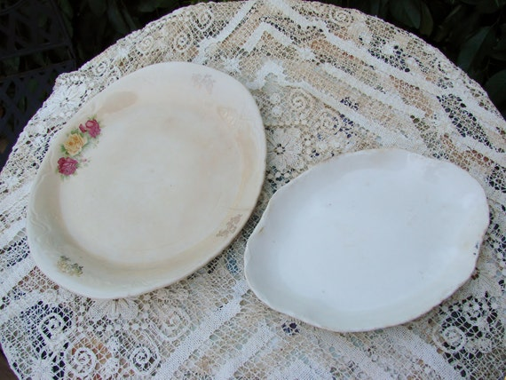 2 Vintage Creamy White  Well Loved Platters One with Roses