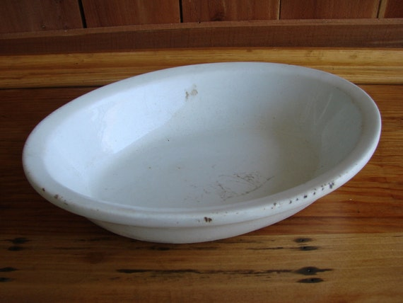 Reserved for Maria Marcusse  SALE SALE Vintage Antique White Ironstone Oval Bowl or Serving Dish