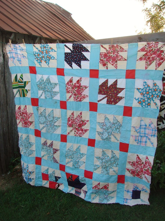 Vintage Maple Leaf Pattern Kentucky Made Quilt Top