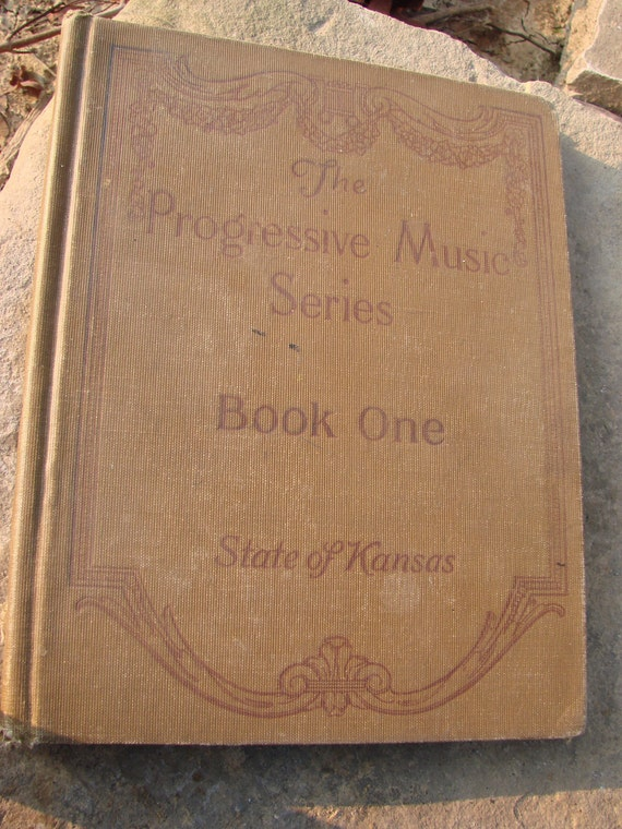 SALE SALE Vintage Antique 1914 The Progressive Music Series Songbook Sepia Brown Cover State of Kansas