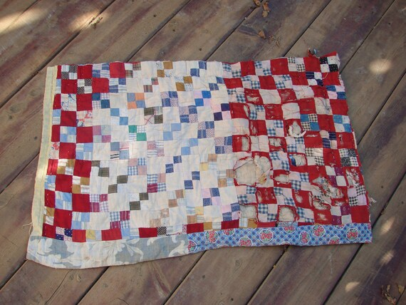VIntage Red and Blue Patchwork Cutter Quilt Piece for Repurposing