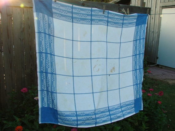 VIntage Blue and White Windowpane Damask Cutter Tablecloth