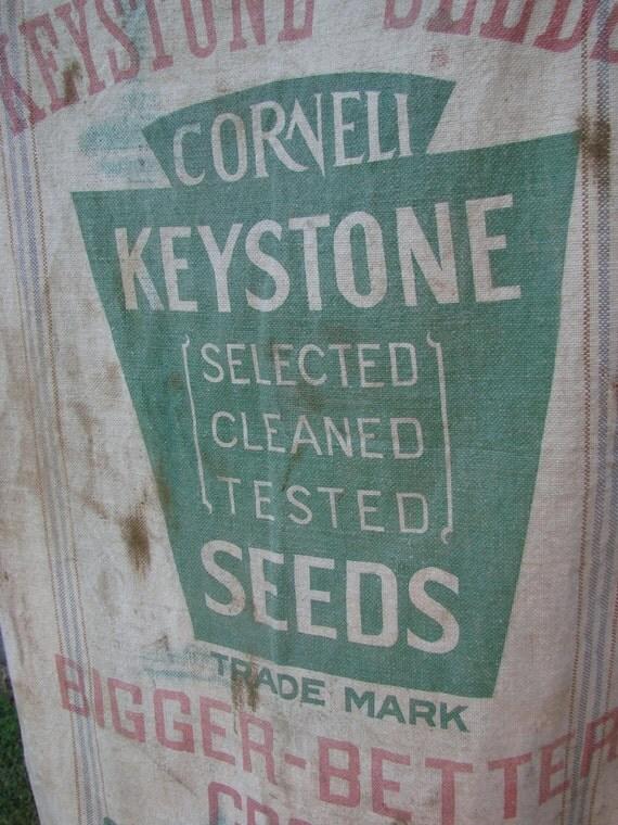 Antique Old Heavy Muslin or Hemp Grain Sack or Bag KEYSTONE SEEDS