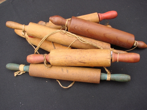 INSTANT COLLECTION Seven Vintage Antique Childs Toy Wooden Wood Rolling Pins