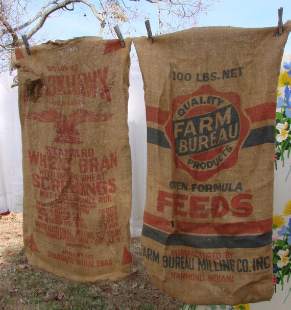 2 VIntage Burlap Bags with Advertising FARM BUREAU and Bag with Eagel Red Lettering