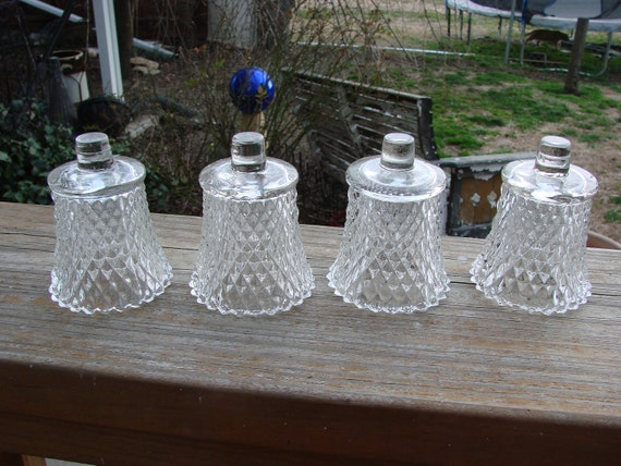 Vintage Home Interior Clear Glass Diamond Point Votive Cups