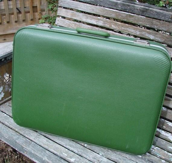Vintage 1960s Avocado Green Suitcase Luggage