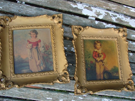 Pair of Vintage Boy with Dog Girl with Cat Framed Pictures Ornate Frames