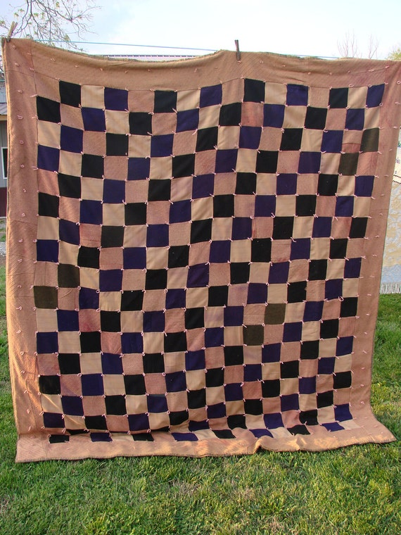 Vintage Patchwork Dark Colors Hand Tied Kentucky Made Quilt