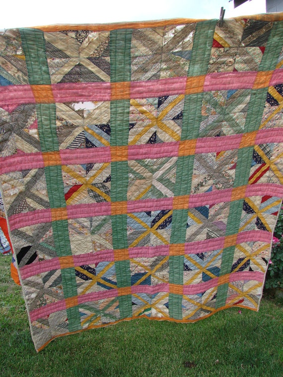 Vintage Kentucky Made Cutter Quilt Feed Sack Strip or String Pattern