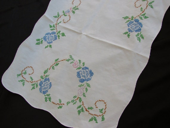 Vintage Embroidery Dress Scarf Runner with Blue Cross Stitch Embroidery Roses