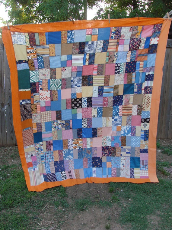 Vintage Kentucky Made Colorful Patchwork Quilt Top Feedsack Fabric