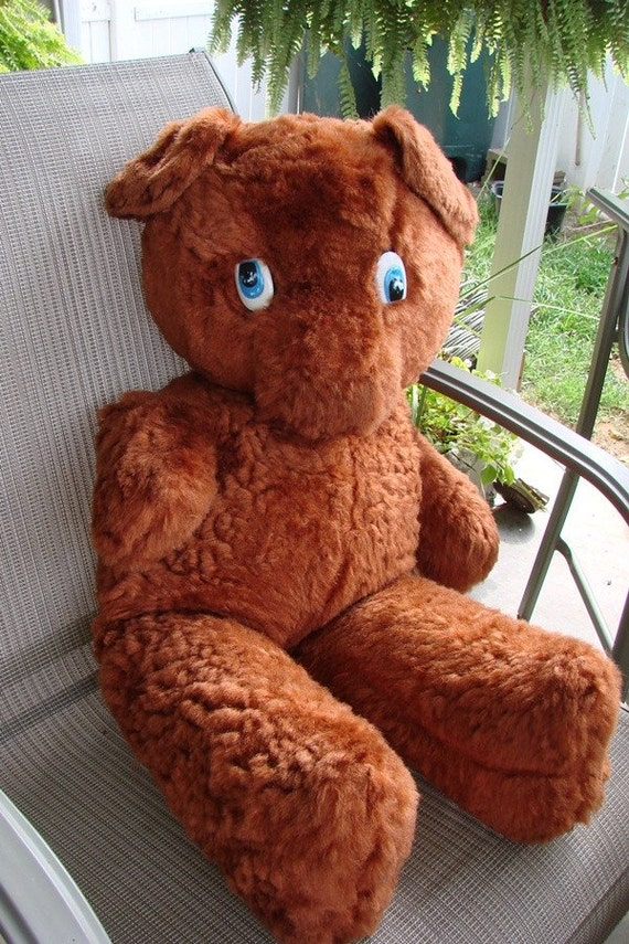 VINTAGE 1960s LARGE BROWN ADORABLE TEDDY BEAR FABLE TOY CO