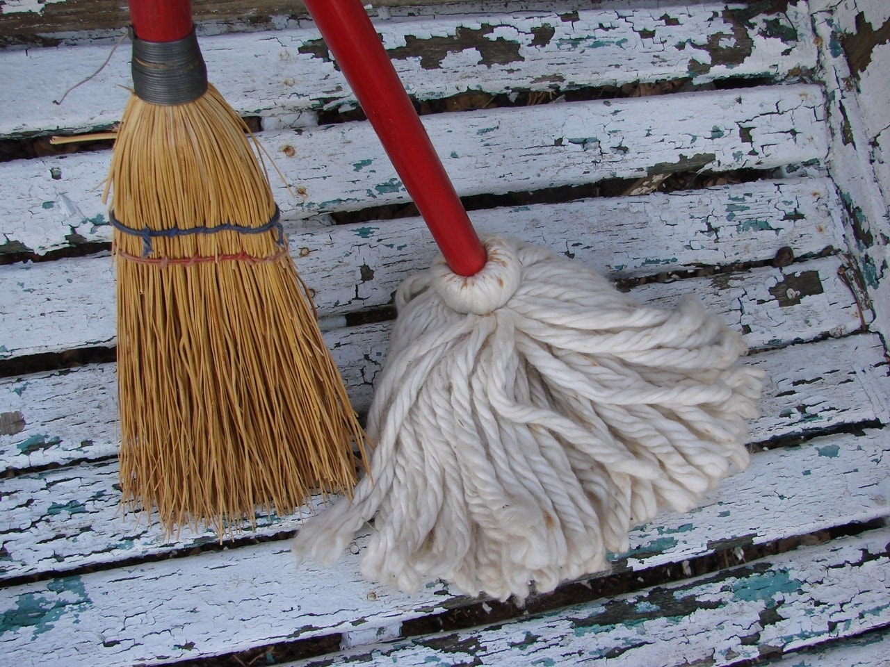 Vintage Childs Red Handled Mop And Broom Just Like Moms