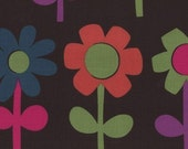 Kokka, Large Daisies in Chocolate, Japanese Impot Fabric, 1 Yard