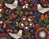 Michael Miller, Birds of Norway in Espresso, Cute Critters Fabric, 1 Yard