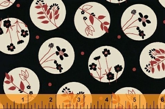 ON SALE, Windham Fabrics, Circles and Flowers in Black, Black White and Red All Over Fabric, 1 Yard
