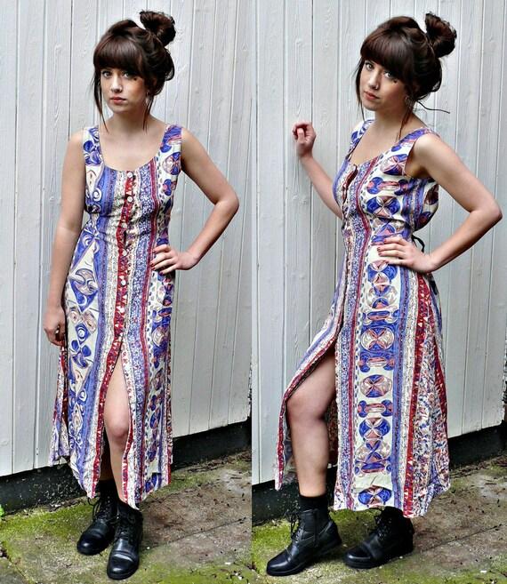gorgeous VINTAGE TRIBAL pattern  90s button down DRESS ,boho/retro/women's dress