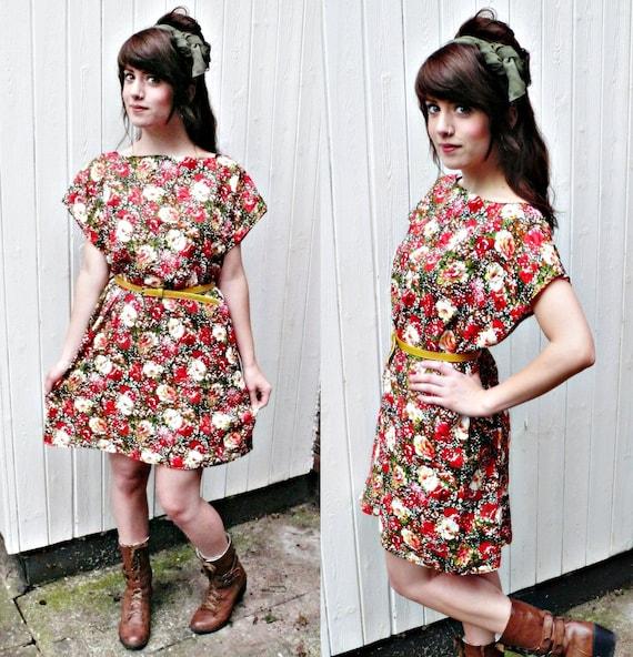 FLORAL PRINT DRESS//,womens floral dress,slip dress,ditzy floral print tunic dress,s/m