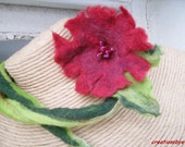 Red Felted flower necklace