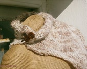 Knitted beige and wheat neck warmer, fringe cowl, neckpiece, brown wood buttons, wool acrylic cowl, by creationsbyeve