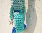 Crochet chain choker-necklace colors of the ocean