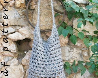 Large grey crochet hobo bag PDF pattern