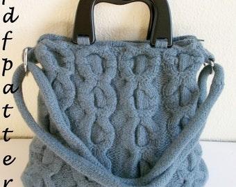 Teal-blue cabled handbag PDF pattern