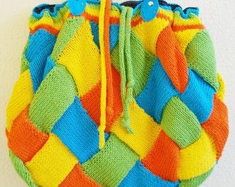 Colorful summer handknit bag