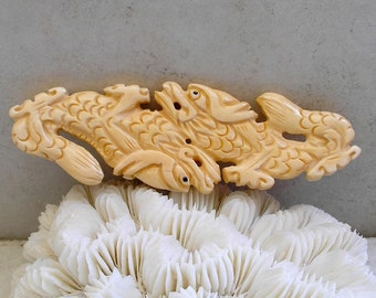 Carved Bone Dragon Pendant Ethnic Double Dragon Detailed Bone Carving For Jewelry Making