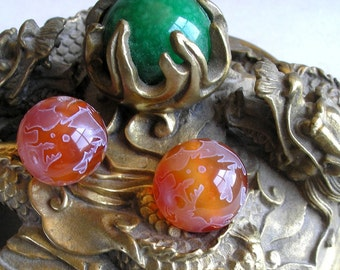 Dragon Phoenix Carnelian Bead- 20mm Round Etched Gemstone Bead For Beaded Jewelry Making