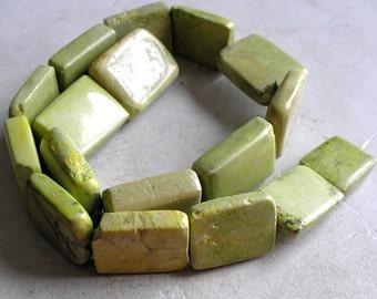 Yellow Green Turquoise Beads- Vintage Rectangular Gemstone Mahjong Tile For Jewelry Making