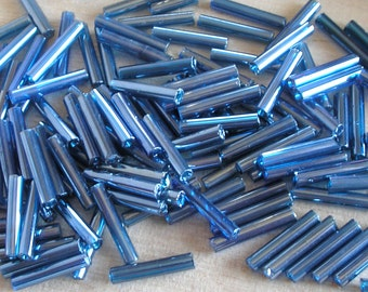 Vintage Bugle Beads- Blue Art Glass- Size 5 Bugle Beads For Jewelry Making, Beadwork, Beaded Jewelry