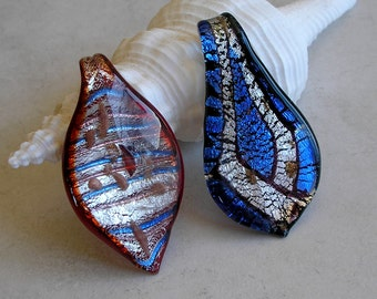 Dichroic Glass Pendants- Leaf Pendants- Fused Glass- Blue and Red Glass Pendants For Jewelry Making
