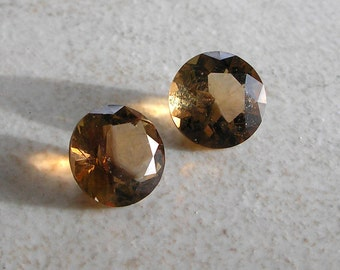 Smoky Quartz Solitaires- 8mm Round Faceted Vintage Gemstone Solitaires For Jewlery Making