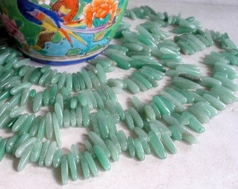 Green Aventurine Stick Beads- Aventurine Pebble Pendant Beads- Gemstone Beads For Jewelry Making