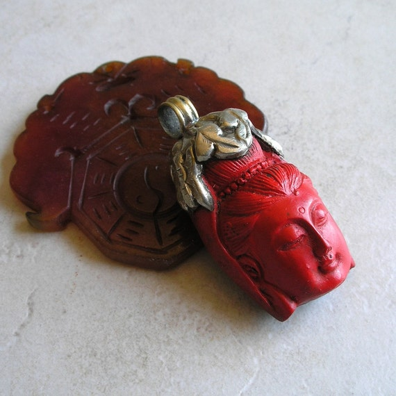 Cinnabar and Silver Quan Yin Pendant with Dragon