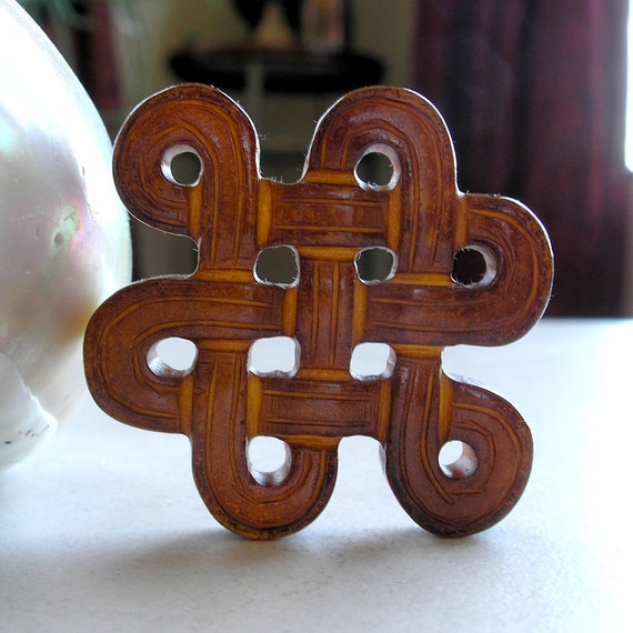 Brown Jade Pendant- Carved Endless Knot