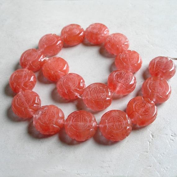 Cherry Quartz Focal Beads with Long Life Symbol