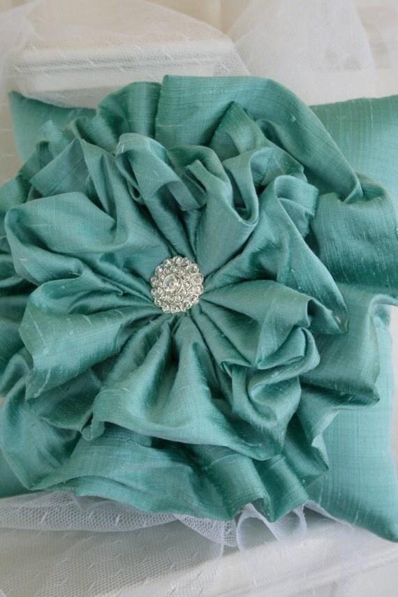 Tiffany Blue Ruffle Flower Ring Bearer Pillow