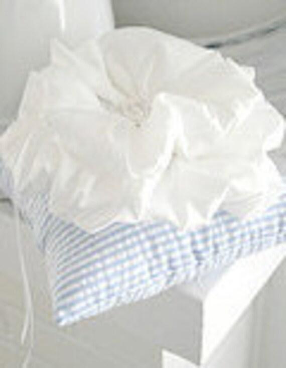 Blue Seersucker Ruffle Flower Ring Pillow