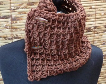 Hand Knit Cowl Scarflette Hazelnut