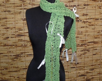 LACY  GREEN Cashmere Silk Hand Knitted Scarf