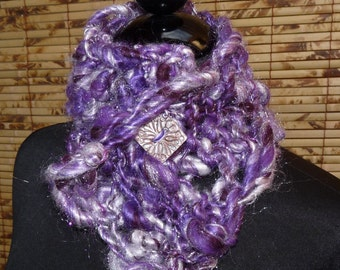 Hand Knit Scarflette  PURPLE PASSION