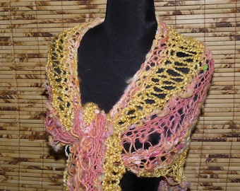 Hand Knitted Shawl  TEQUILA SUNRISE