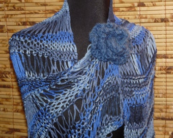 Knitted Blues Shawl
