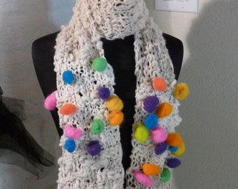 Wool Scarf Hand Knitted BALLOONS