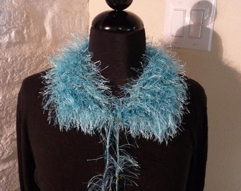 Hand Knitted Turquoise Collar