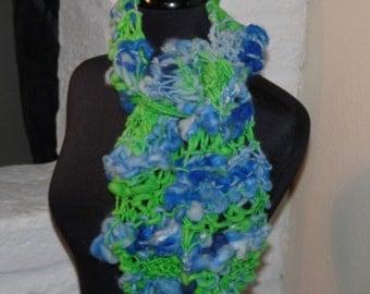 Hand Knitted Art Scarf  HYDRANGEA