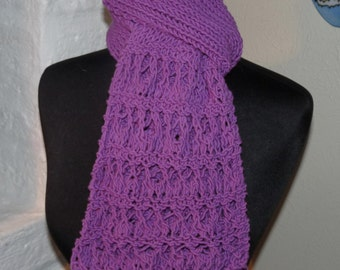 Hand Knitted Scarf  PURPLE LACE